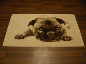 Modern Approx 4x2 60cm x 110cm Novelty Pug New Rugs Woven Backed Nice ,Creams